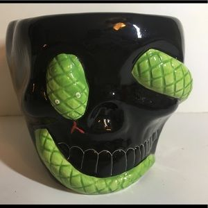 Ceramic Halloween Black Skull Bowl Snake Eyes